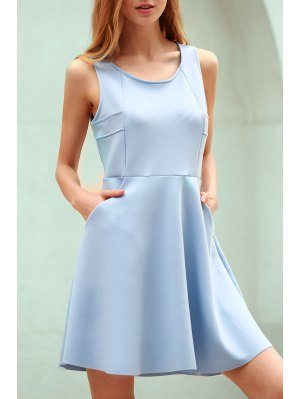 Light Blue Hollow Scoop Neck Sleeveless Sundress - Light Blue 2xl