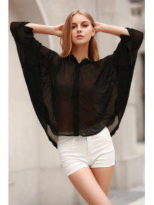 Black Stand Neck Half Sleeve See-Through Blouse - Black L