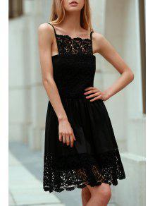 Semi Formal Lace Spliced Cami Black Dress - Black Xl