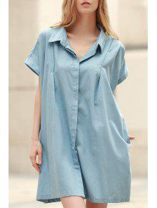 Loose Retro Turn-Down Collar Short Sleeve Dress - Light Blue 2xl