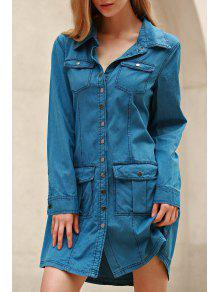 Azul Denim Turn Down Neck Manga Comprida Vestido - Azul M