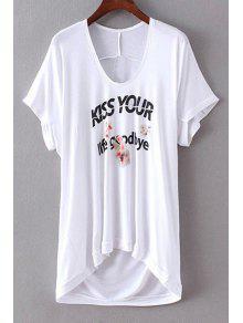 Letter Print U Neck Short Sleeve T-Shirt - White M