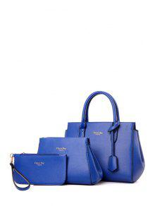 Buy Letter Print Solid Color Tote Bag - BLUE