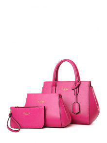 Buy Letter Print Solid Color Tote Bag - ROSE