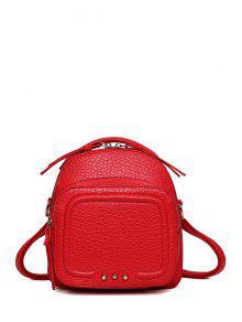 Buy Rivet PU Leather Solid Color Satchel - RED