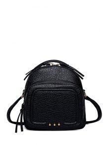 Buy Rivet PU Leather Solid Color Satchel - BLACK