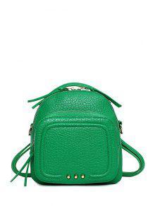 Buy Rivet PU Leather Solid Color Satchel - GREEN