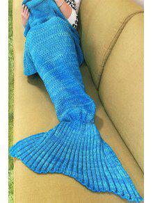 بطانية ميرميد محبوك للنوم أزرق - أزرق