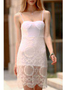 Vestido Ceñido De Encaje Con Tirante Fino - Blanco S