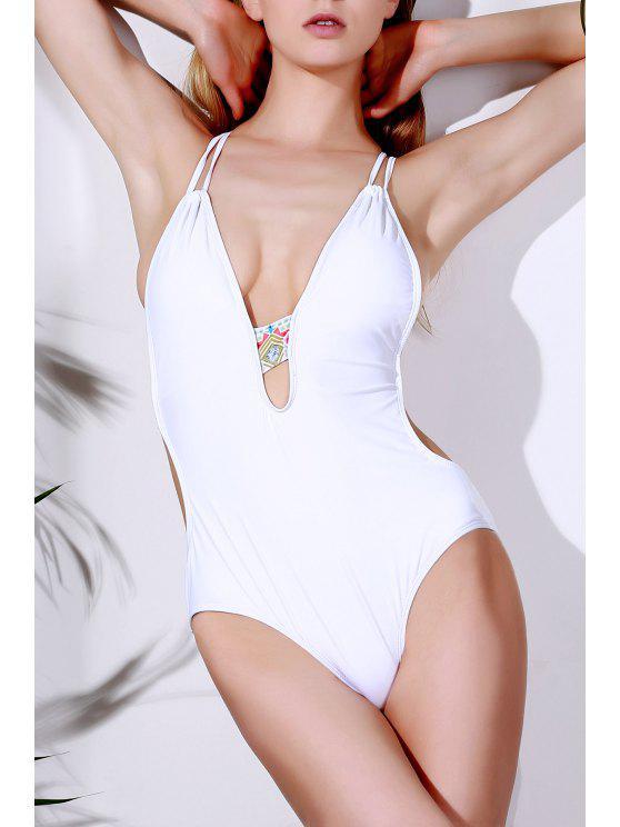 Bañador Escotado de Halter con Estampado en una Pieza - Blanco XL