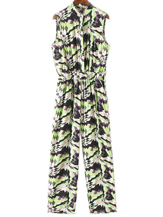 ladies Geometric Pattern Stand Neck Sleeveless Jumpsuit - GREEN S