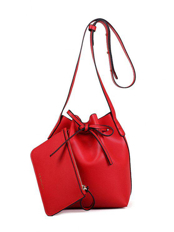 unique Letter Print String Solid Color Crossbody Bag - RED