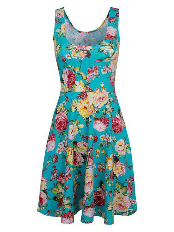 chic Sleeveless Chiffon Flroal Flowing Dress - LIGHT BLUE S