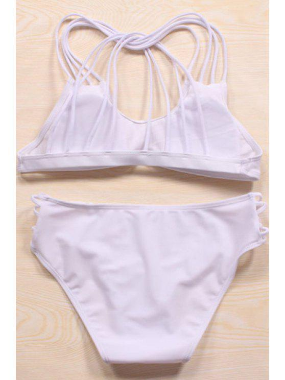 Color sólido Recortable cabestro bikini Set - Blanco L