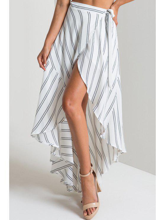 396c2860e 21% OFF] 2019 Stripe High Waist High Low Skirt In WHITE | ZAFUL