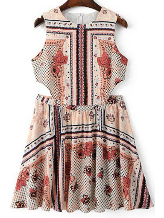 Vestido sin Manga con Cuello Redondo con Estampado Vintage - Colormix L