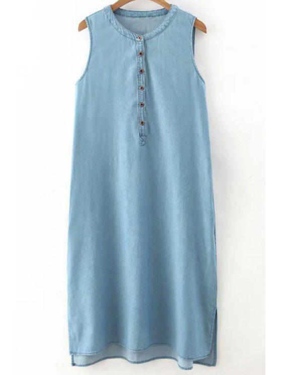 hot Light Blue Round Neck Denim Sundress - LIGHT BLUE S