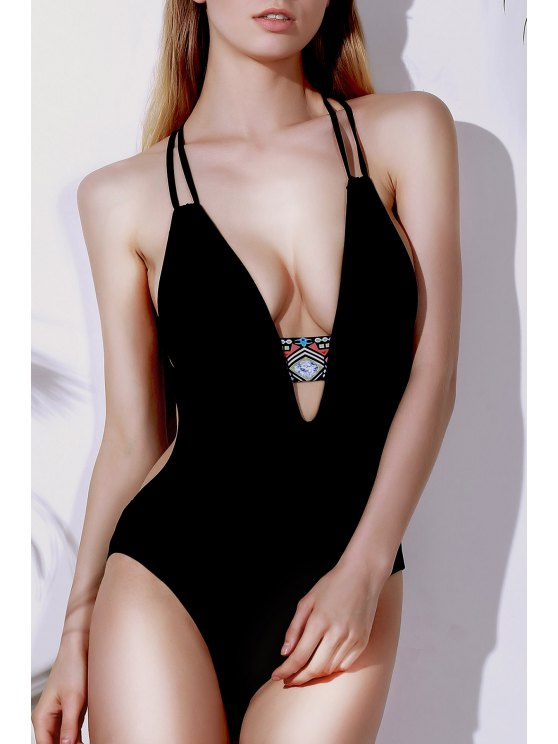 buy Printed Halter Cut Out One Piece Swimwear - BLACK S