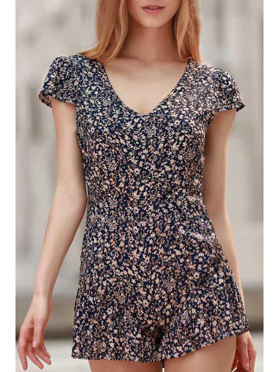 best Tiny Floral Print V Neck Cap Sleeve Playsuit - BLUE XL