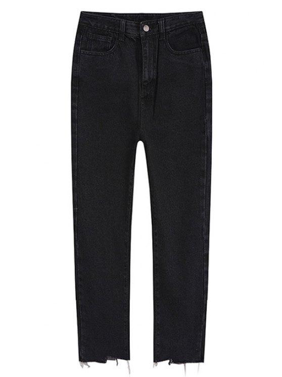 sale Unfinished Trim Ninth Jogger Jeans - BLACK L