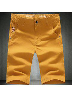 Zipper Fly Embroidered Straight Leg Shorts For Men - Yellow 34