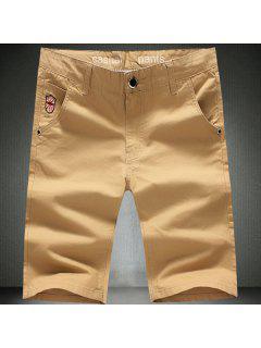 Zipper Fly Embroidered Straight Leg Shorts For Men - Khaki 31