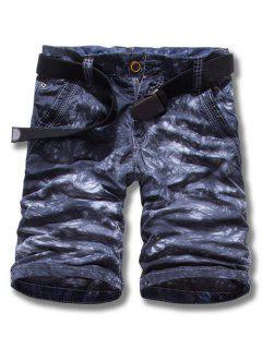 Zipper Fly Bleach Wash Straight Leg Shorts Für Männer - Dunkelgrau 29