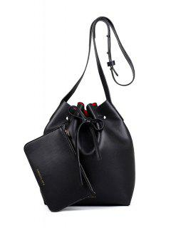 Letter Print String Solid Color Crossbody Bag - Black