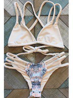 Handed Print Cut Out Straps Bikini Set - Shallow Pink L