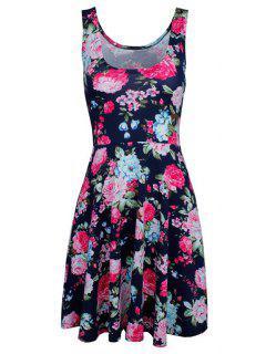 Sleeveless Chiffon Flroal Flowing Dress - Purplish Blue L