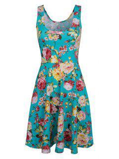 Sleeveless Chiffon Flroal Flowing Dress - Light Blue 2xl