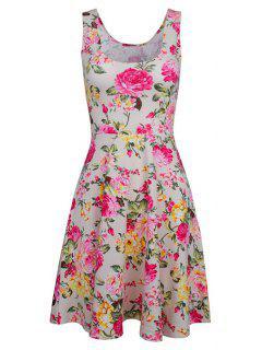 Sleeveless Chiffon Flroal Flowing Dress - White 2xl