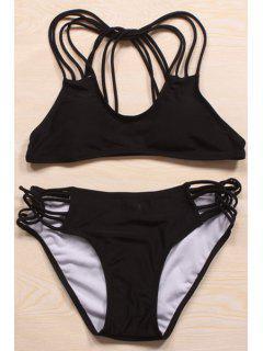 Solid Color Cut Out Halter Bikini Set - Black M