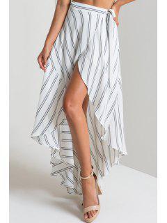 Stripe Taille Haute Haut Bas Jupe - Blanc Xl