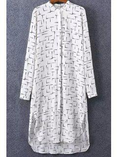Stripes Print Turn Down Collar Long Sleeve Shirt - White L