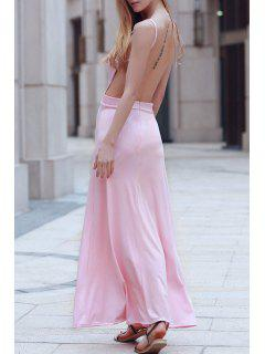 Backless Spaghetti Straps Solid Color Maxi Dress - Pink L