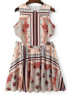 Vintage Print Round Neck Sleeveless Dress - L