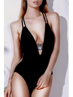 Printed Halter Cut Out One Piece Swimwear - Black M