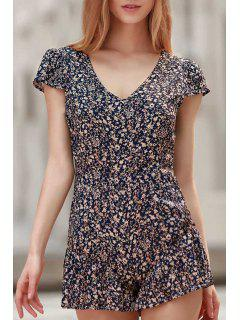 Tiny Floral Print V Neck Cap Sleeve Playsuit - Blue Xl
