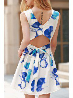 Cut Out Round Collar Flower Print Dress - Blue And White Xl