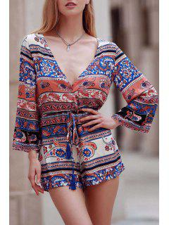 Ethnic Print Plunging Neck Long Sleeve Playsuit - Xl