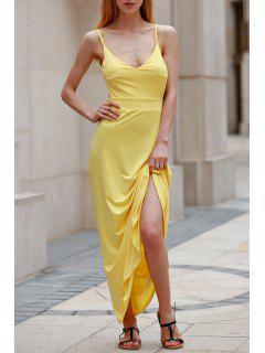 Backless Spaghetti Straps Solid Color Maxi Dress - Yellow Xl