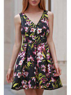 Bowknot Embellished Plunging Neck Flower Print Dress - Black Xl