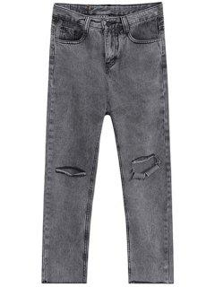 Broken Hole Jogger Jeans - Gray L