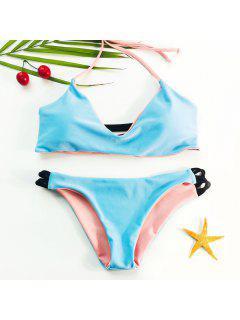 Sexy Halter   Wire Free Color Block Bikini Set For Women - Light Blue L