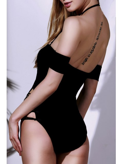 sale Solid Color Lace Up One Piece Swimwear - BLACK M Mobile