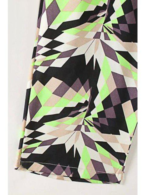 ladies Geometric Pattern Stand Neck Sleeveless Jumpsuit - GREEN S Mobile