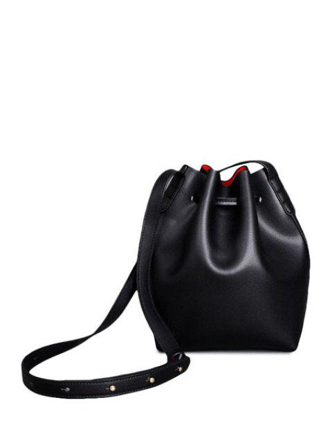 sale Letter Print String Solid Color Crossbody Bag - BLACK  Mobile