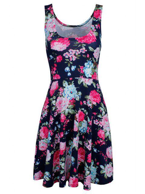 women Sleeveless Chiffon Flroal Flowing Dress - PURPLISH BLUE L Mobile
