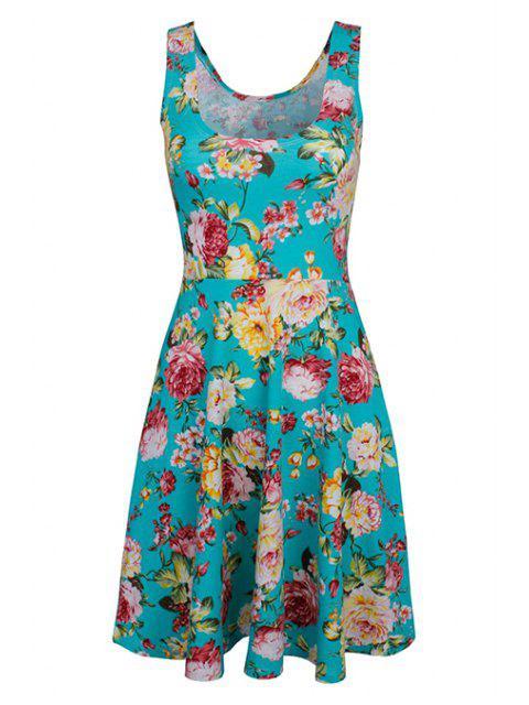 chic Sleeveless Chiffon Flroal Flowing Dress - LIGHT BLUE S Mobile